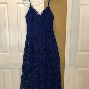 Astr the Label cobalt blue lace midi dress small